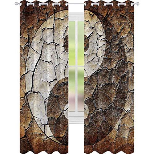 Cortina de ventana opaca Ying Yang agrietada tierra seca tierra W52 x L84 para decoración de niños cortinas personalizadas