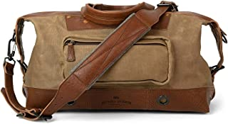Waxed Canvas and Genuine Leather Travel Bag for Men | Dakota by Buffalo Jackson | Weekend, Daytrip, Airline Carry-On (Field Khaki)