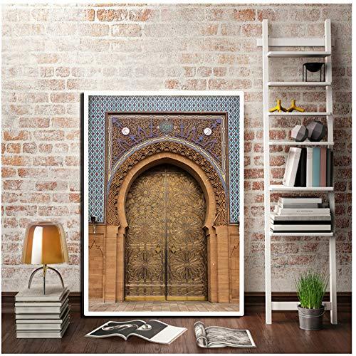 NIESHUIJING kunstdruk op canvas, motief: Marokkaanse deur, vintage, wereldkampioenschap 40x60cmx1pcs Sin marco 4 X 100 M