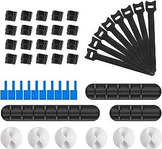 URAQT Kabelhouder clips, 59 stuks kabelbeheer koord organizer clips, zelfklevende bureaukabel netjes/kabelbinders/kabellab...
