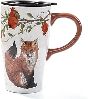 Minigift Tall Ceramic Travel Coffee Cup/Mug With Lid 16oz-Fox Mug
