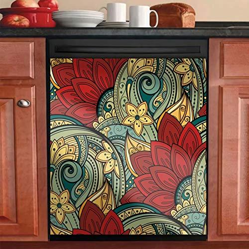 Mandala Flower Kitchen Dishwasher Sticker Cover for Surface Washers,Bohemia Floral Refrigerator Sticker,Ethnic Style Washing Machine Cover Sheet,Panel Vinyl Decals Dryer Decoration(Ordinary Sticker)