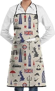 Yhjs3Kw England London UK Adjustable Chef Apron-Cooking Kitchen Restaurant Aprons for Men Women