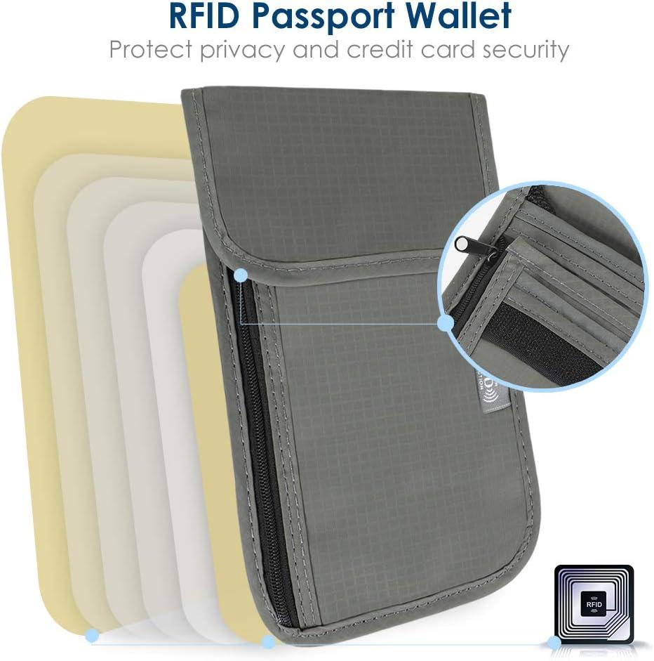 Passport Wallet for Women /& Men Simpeak Travel Neck Pouch Passport Cover with RFID Blocking