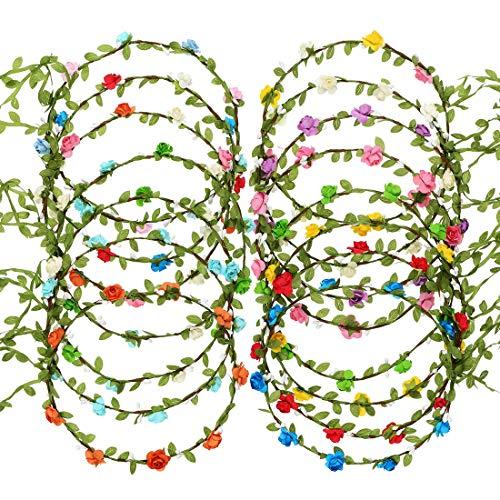 LILITRADE Corona De Flor De Colores Variados Diadema De Guirnalda Para Festival Fiesta Vacaciones Cintas Coloridas De Corona Diferentes Ocasiones 15 Piezas