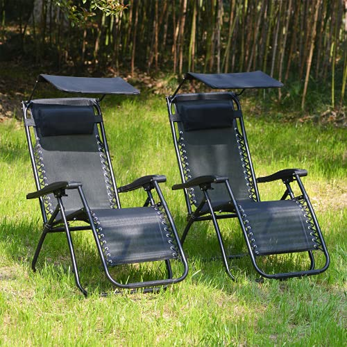 Leisure Zone Sun Lounger, Gravity Patio Chair,Adjustable Pillow,Adjustable Sun Shade Garden Outdoor Reclining Chairs Zero Gravity Patio Chair With Canopy