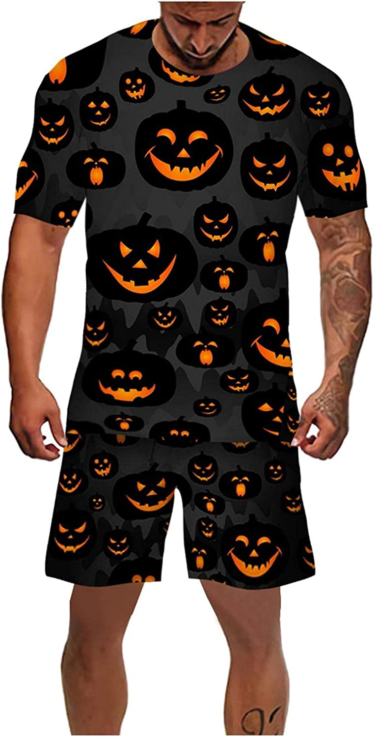 Mens 2 Piece Halloween Outfits Funny Cute Pumpkin Lantern Face Printed Tops & Shorts Tracksuits Crewneck Pullover Sets