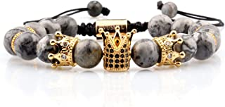 GVUSMIL Imperial Crown Beads Bracelet King&Queen Luxury Charm Couple Jewelry for Men (Grey Howlite)