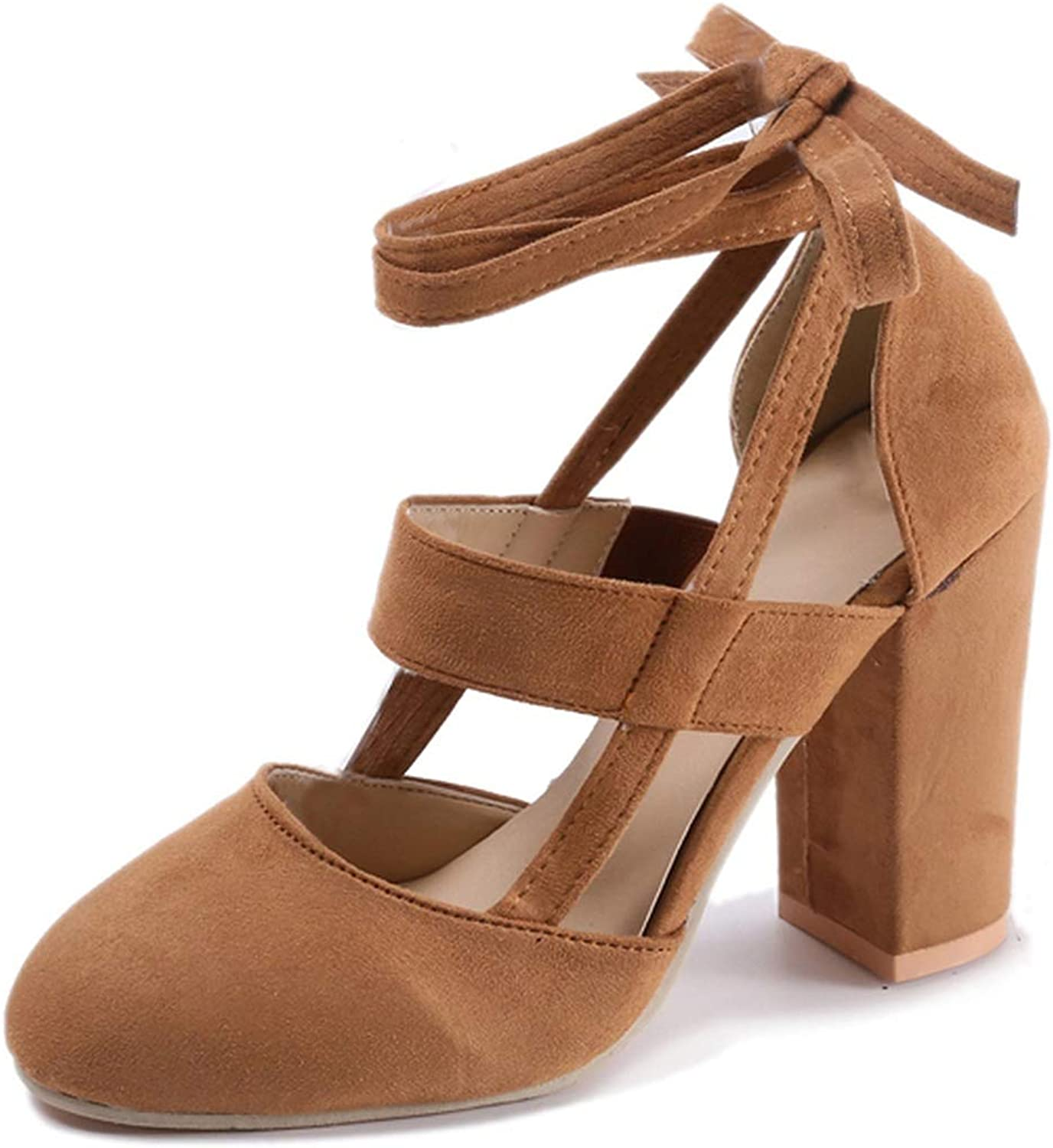 Plus Size Female Ankle Strap High Heels Flock shoes Thick Heel,Khaki,10,United States