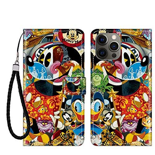 DISNEY COLLECTION Funda tipo cartera para iPhone 12 Pro, diseño de Mickey Mouse de Disney, soporte para tarjetas de crédito, cierre magnético, función atril, absorbente de golpes