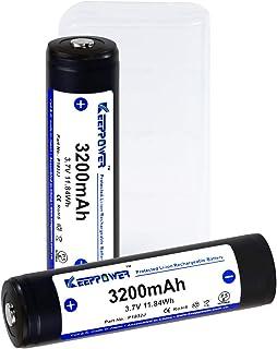 【国産セル】 KEEPPOWER 18650サイズ互換 3200mAh 保護回路付 リチウムイオンバッテリー (ケース付属)