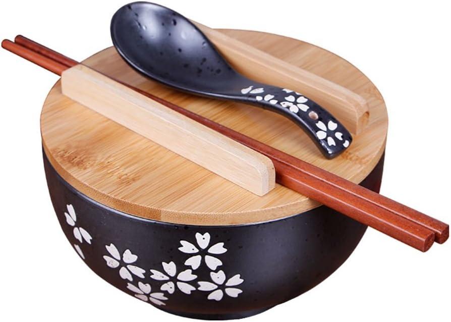Vajilla de cocina japonesa Tazón de fuente de estilo vintage coreano Cuenco de arroz Tazón de fuente de cerámica instantánea de estilo japonés negro Palillos con tapa