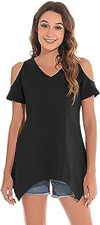 UMIPUBO Scollo V T-Shirt da Donna T-Shirt Allentata Senza Spalline Casual Maglietta Tinta Unita o Stampa Piuma Cotone Blus...