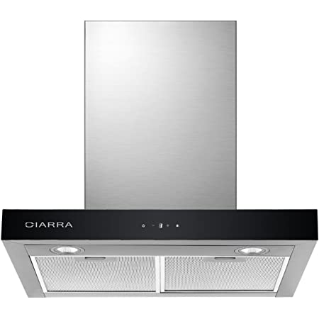 CIARRA CBCS6102 Hotte Aspirante 60cm - Commandes Tactiles - 550m³/h - 3 Vitesses - Eclairage LED - Affichage Numérique - Recyclage ou Evacuation -2 Filtres Alu Lavable - Hotte Décorative Inox
