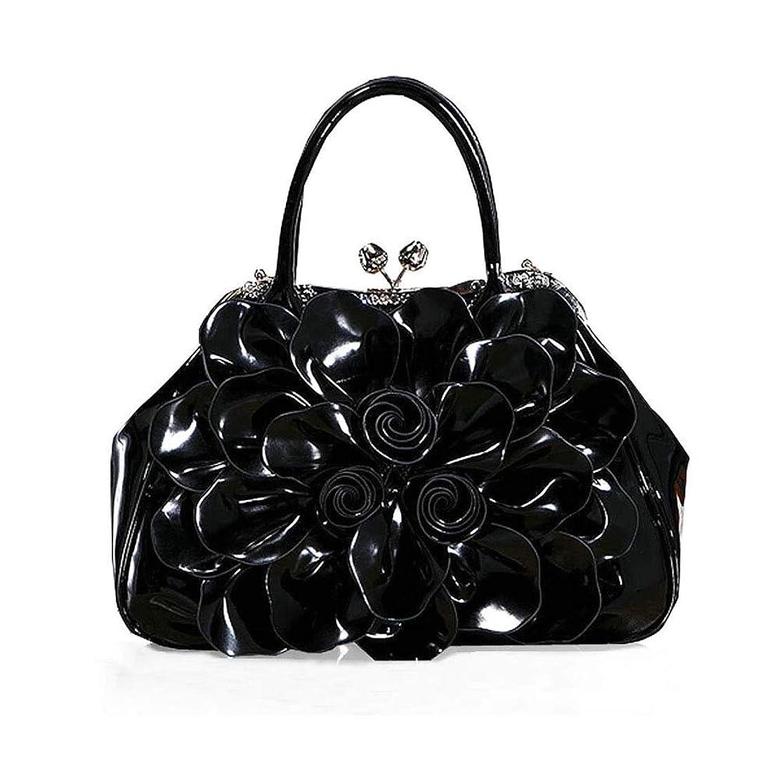鋸歯状援助とティーム女性のフラワーバッグ、デザイナーのショルダーバッグ、パテントレザーのハンドバッグ、ブライダルクラッチ、結婚式のイブニングバッグ