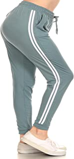 LA12ST Girl's 2 Pockets Double Stripe Drawstring Brushed Poly Buttery Soft Kid Sports Jogger