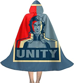 Legend of Korra Kuvira Unity Unisex Kids Hooded Cloak Cape Halloween Christmas Party Decoration Role Cosplay Costumes Outwear Black