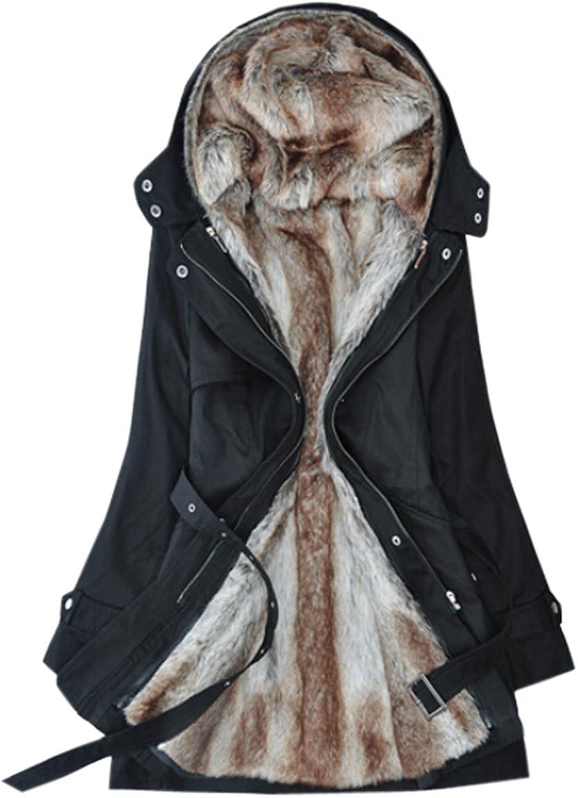 Xinliya Women Thicken Faux Fur Hooded Coat Jacket Parka Outerwea