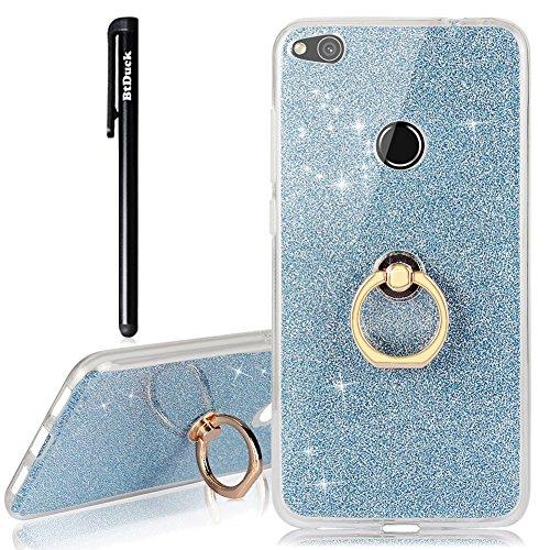 BtDuck Huawei P8 Lite 2017 Hülle Silikon Transparent Slim mit Ring Handyhülle Glitzer Papier 2 in 1 Schutzhülle Metall Ring Stand Ständer Bumper Case Smartphone Halter Ständer Ringhalter