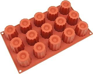 Freshware Silicone Mold for Canele, Fluted Cake and Bordelais, Small, 15-Cavity