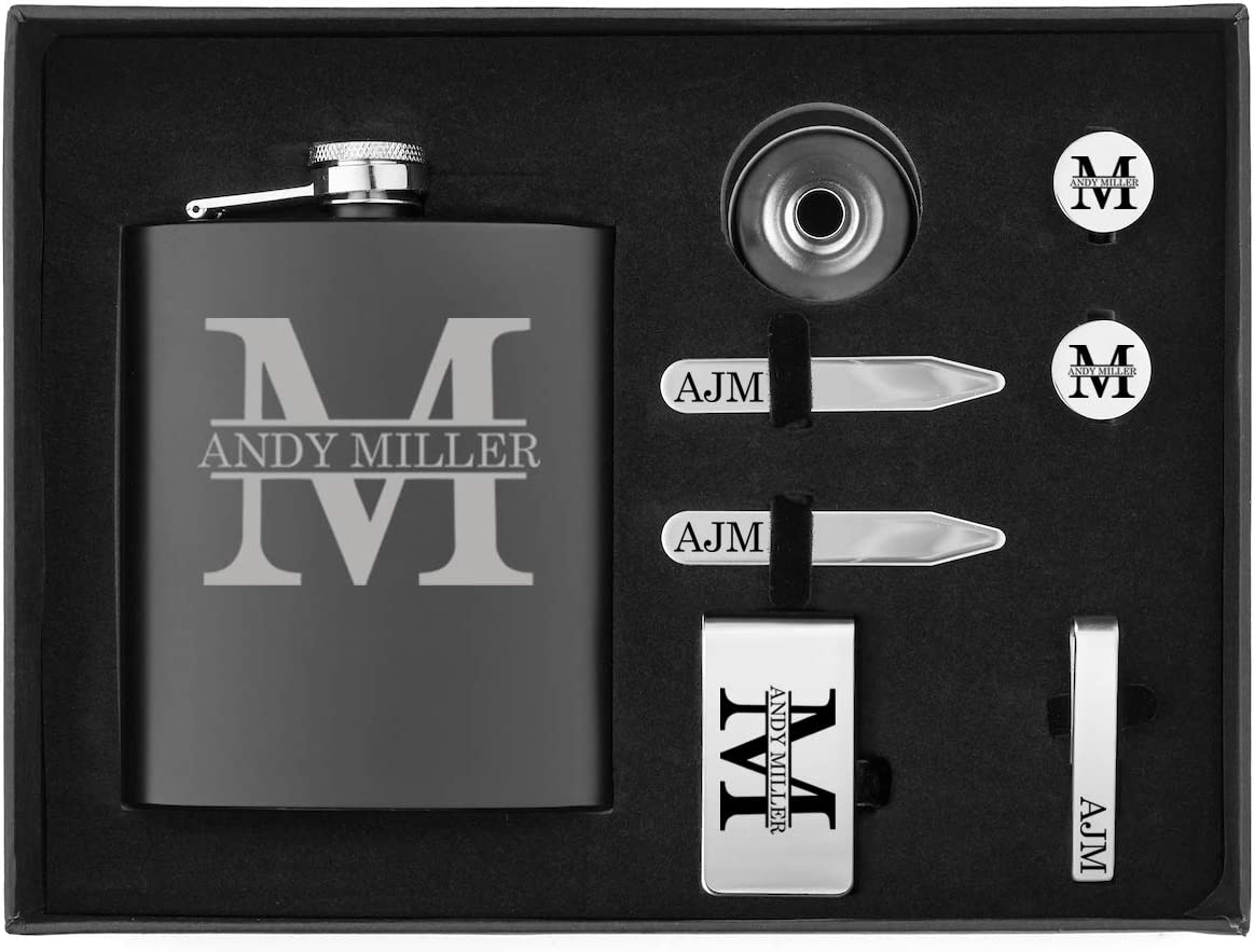 Custom Initial Engraved 7oz Flask, Funnel, Money Clip, Tie Bar Clip, Round Cuff Links, Collar Stays Set Gift Box Set Personalized