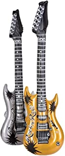 Rhode Island Novelty 42 Inch Gold and Silver Rock Guitar Inflatables Set of 12
