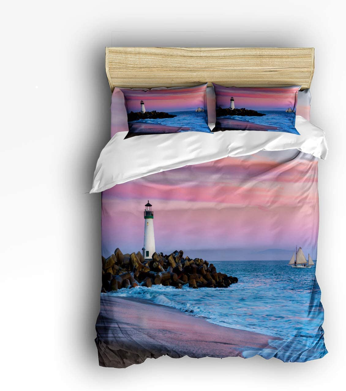 COVASA Luxury Max 51% OFF 4-Piece Bedding Set Beach Low price Oce on Sunset Lighthouse