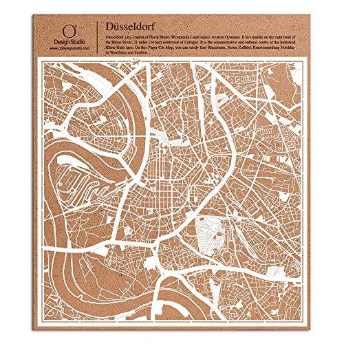 Düsseldorf Paper Cut Map White 30x30 cm Paper Art