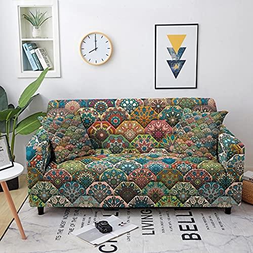 ASCV Fundas de sofá elásticas Toalla de sofá para Sala de Estar Bohemia Mandala Patrón Muebles Sillón Protector Sofás Fundas A9 3 plazas