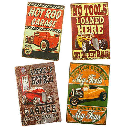Yunuo Hot Rod My Tools My Toys Vintage Rustic Home Decoration 4 Pcs Vintage Metal Signs (D)
