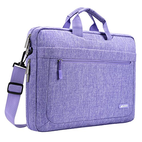 MOSISO Laptop Briefcase Shoulder Bag Compatible with MacBook Pro 16 inch A2141, 15-15.6 inch MacBook Pro, Notebook Polyester Messenger Carrying Sleeve with Adjustable Depth at Bottom, Purple