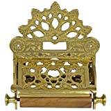 Polished Brass French Victorian Toilet Paper Holder w Fan Top vintage Antique Replica