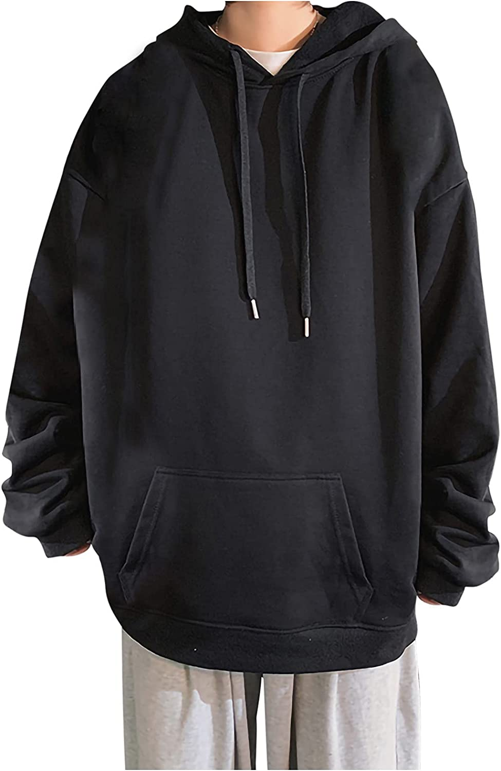 2021 new Large Size Hooded Sweatshirt for Men Solid Long Sleeve Popular products Pu Casual