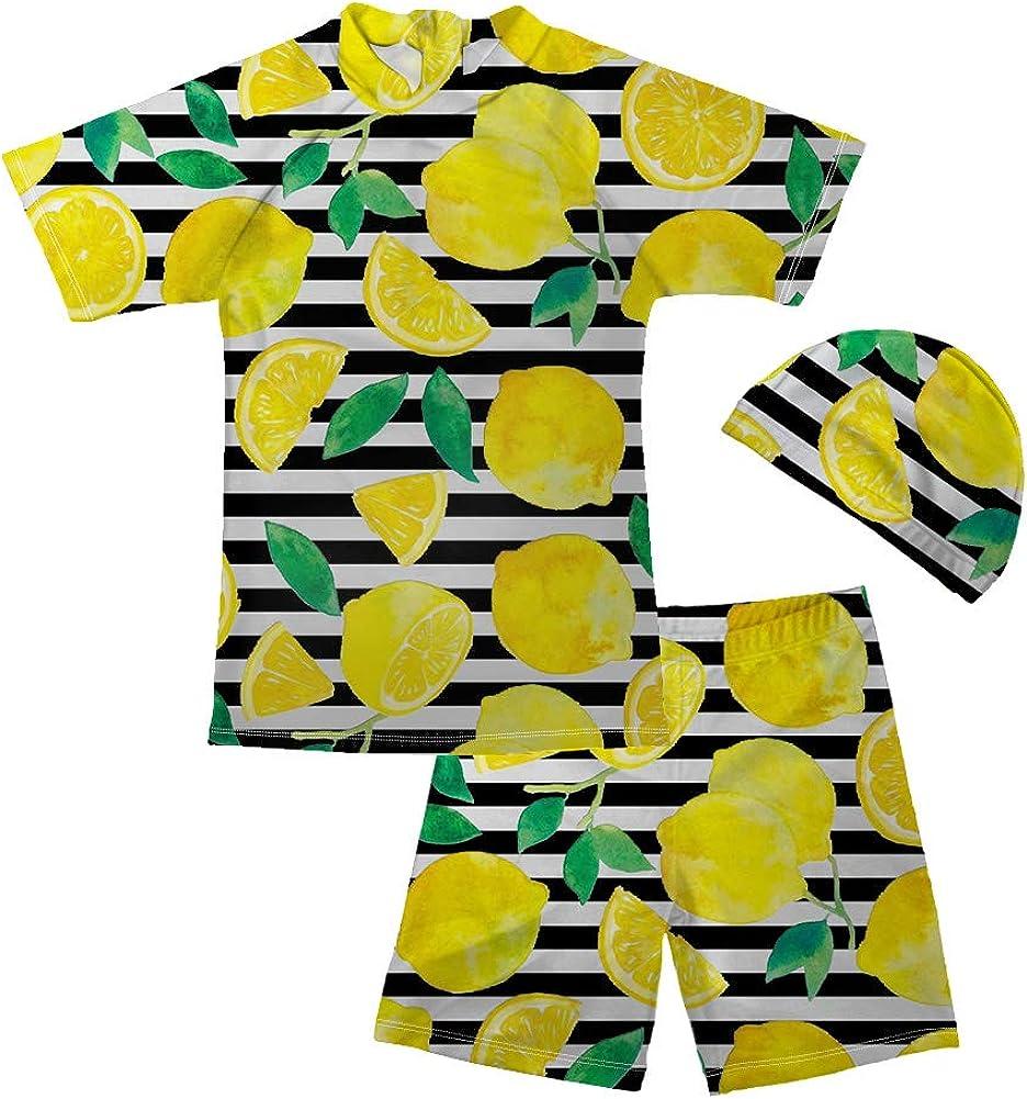 BIGCARJOB 3 Piece Swim Set with Swim Hat Tropical Fruit Print Shortsleeve Rashguard with Trunks UV Protector Sunsuit