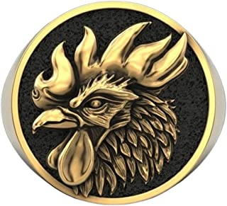 Sponsored Ad - Punk PhoenixBird Symbol Ring for Men, Hip Hop Rooster Chicken Signet Ring Vintage Rooster Animal Ring for ...