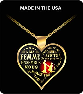Wife gifts Heart shaped Gold Pendant Necklace - A ME FEMME. SANS TOI JE NE SUIS RIEN Best wedding anniversary gift, Birthday gifts