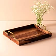 """Nestroots Sheesham Wood Serving Tray with Brass Handle, 15"""" X 12"""", Brown"""
