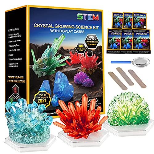 Kristalle Züchten Experimentierkasten, Experimente für Kinder ab 5 6 8 10 Jahre - 3 Farben Wissenschaftler Spielzeug für Kinder Jungen Mädchen Geschenke
