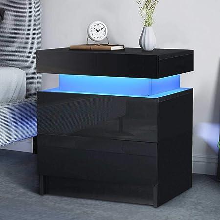 2 Drawer Modern LED Nightstand 16 Color Bedside Nightstand