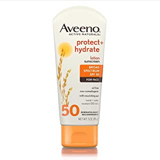 Aveeno Protect + Hydrate Face Moisturizing Sunscreen Lotion with Broad Spectrum SPF 50 & Antioxidant Oat, Oil-Free, Lightweight, Sweat- & Water-Resistant Sun Protection, Travel-Size, 3 oz