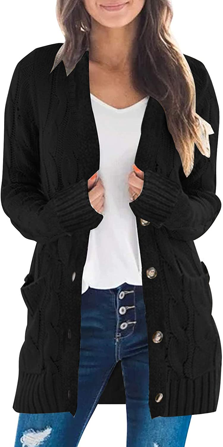 Women's Long Sleeve Twist Knit Cardigans Button Down Cable Sweater Coat Patch Pockets