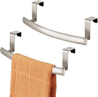Iron Towel Rack Holder Over the Door Cabinet Bathroom Kitchen Organizer Bar