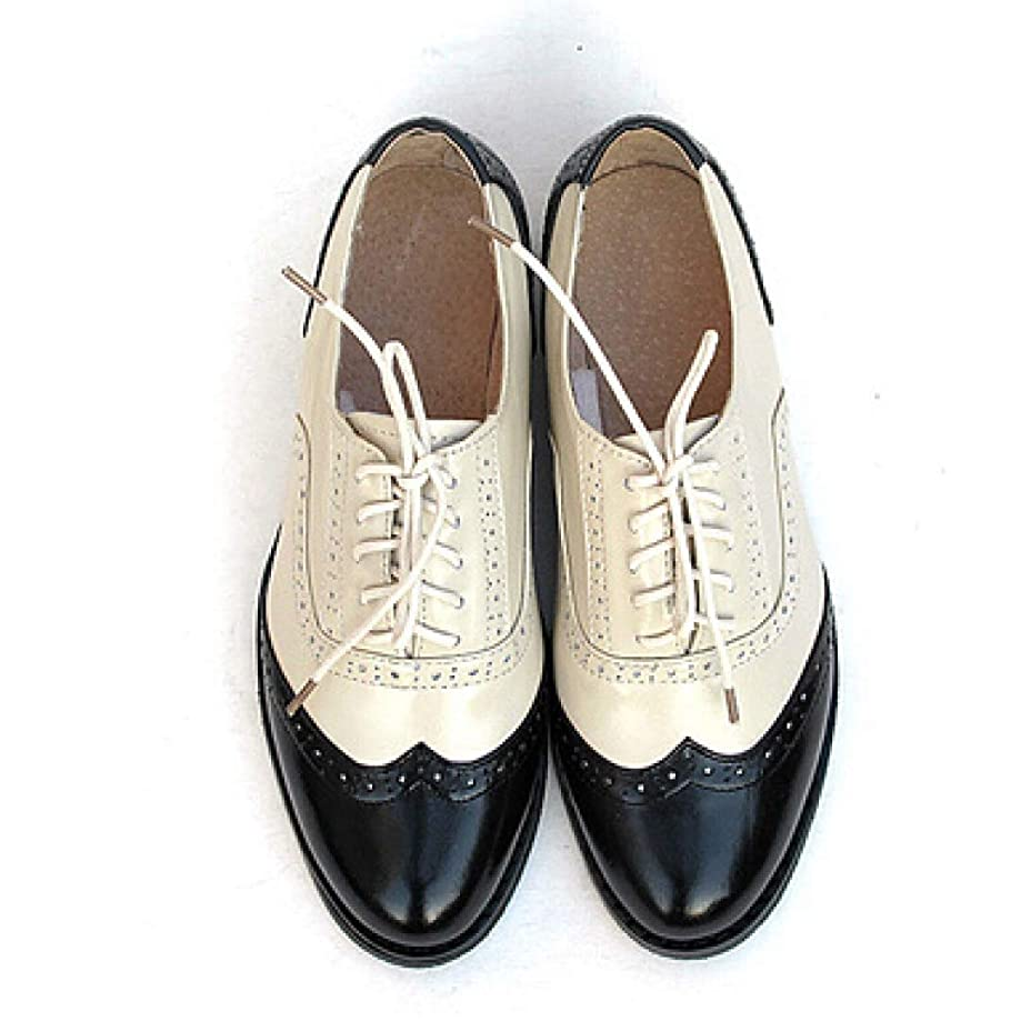 Women's Leather Perforated Lace-up Oxfords Brogue Wingtip Multicolor Saddle Shoes for Ladies