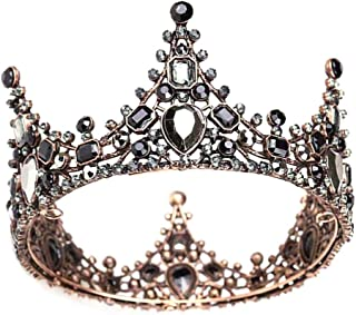 Minkissy corona barocca retrò in strass nero lussuose diademi vintage da sposa in cristallo corone da ballo per la regina ...