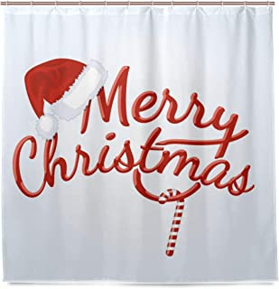 WINTERSUNNY Merry Christmas Season Eve New Year Decorative Decor Gift Shower Curtain Polyester Fabric Funny Hat Candy Cane Curtains for Bathroom with 12 Hooks 79x71