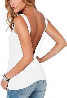 Bestisun Women's Sexy Open Back Stretchy Tank Top Cute Casual Shirt