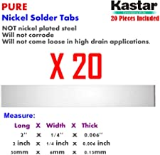 Kastar Pure Nickel Solder Tab (20 Pieces), commercial grade best suited for heavy duty, high current and hig capacity battery packs. Build your own RC Toys and Power Tool battery pack DIY projects.