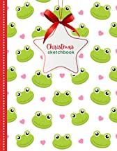 Christmas Sketchbook: Green Frog Red Heart Christmas Pattern / 8.5x11 Unlined Art Notebook for Kids Teens and Adults with ...
