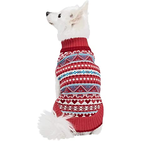 Blueberry Pet Fair Isle Style Sugar Coral Dog Sweater, Matching Sweater for Pet Owner