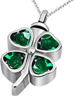 Lucky Clover Cremation Urn Necklace for Ashes Memorial Keepsake Pendant